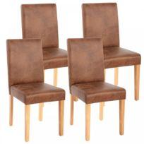 Chaise de salle à manger en cuir vielli marron BROADWAY