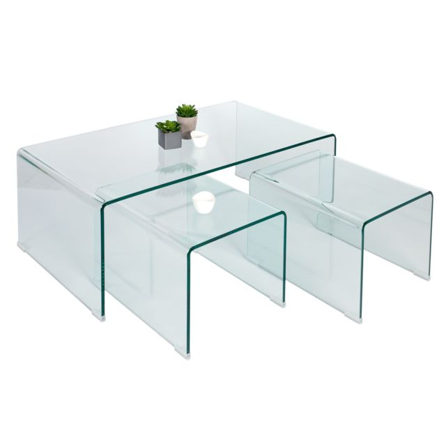 Comforium Jeu de 3 tables basses design en verre 110 cm coloris transparent
