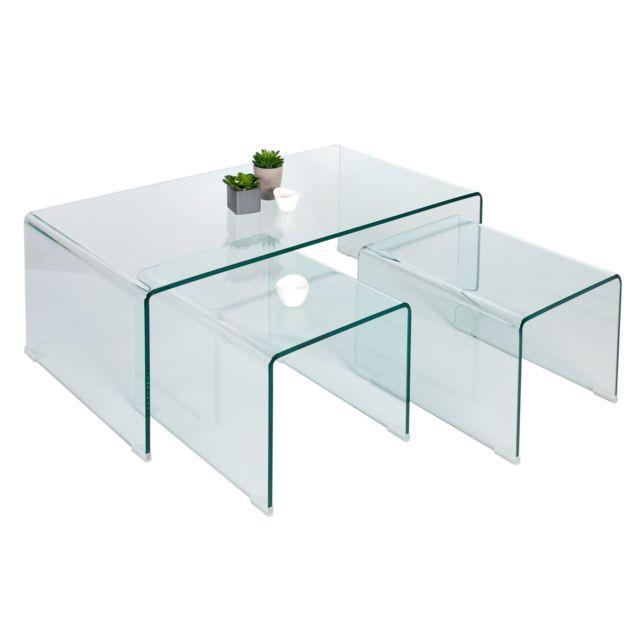 Comforium Jeu de 3 tables basses design en verre 110 cm coloris transparent