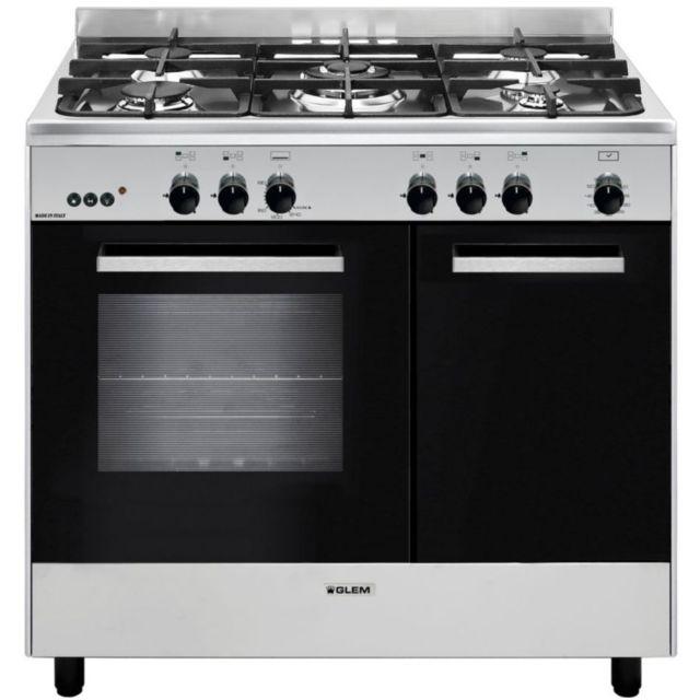 GLEM piano de cuisson gaz 66l 5 feux inox/noir - ga960pcgix