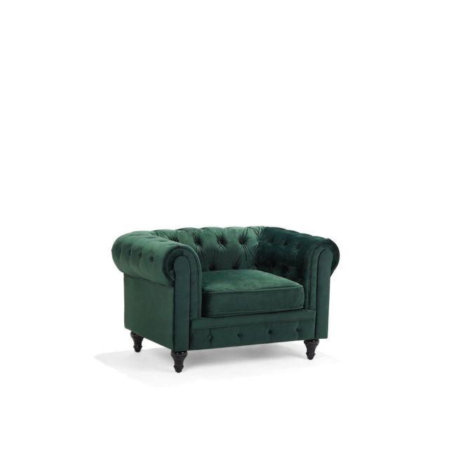 BELIANI Fauteuil en velours vert CHESTERFIELD - vert