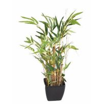 Artificielflower - Bonsaï artificiel mini bambou en pot Pvc carré - plante artificielle d'intérieur - H.50cm