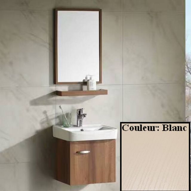 Rue du bain ensemble petit meuble de salle de bain blanc cr me 44x36 cm daily pas cher - Meuble salle de bain rue du commerce ...