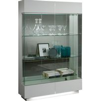 Comforium - Vitrine moderne à 2 portes coloris blanc laqué