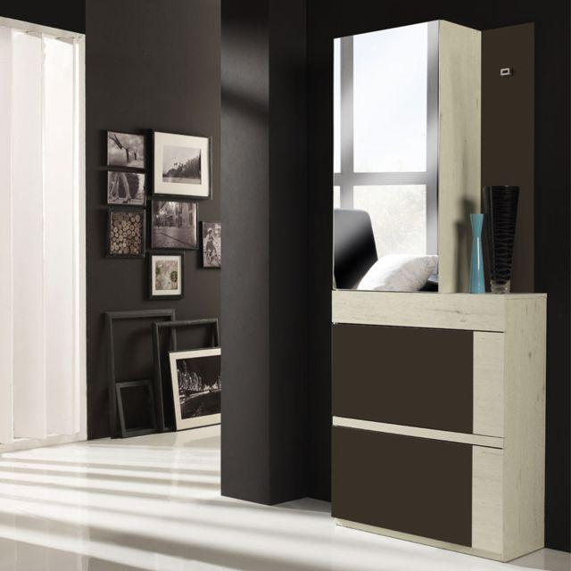 Tousmesmeubles Meuble d'entrée Bois blanchi/Laque marron + armoire - Talita