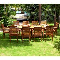 Wood En Stock - Salon en teck pour le jardin - table grande taille 200-300cm - 10 fauteuils