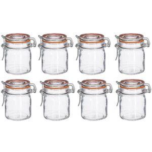 touslescadeaux 8 bocaux herm tiques en verre 150 ml bocal verre couvercle en verre avec. Black Bedroom Furniture Sets. Home Design Ideas