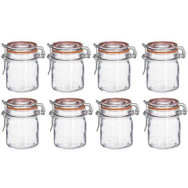 touslescadeaux 8 bocaux herm tiques en verre 150 ml. Black Bedroom Furniture Sets. Home Design Ideas