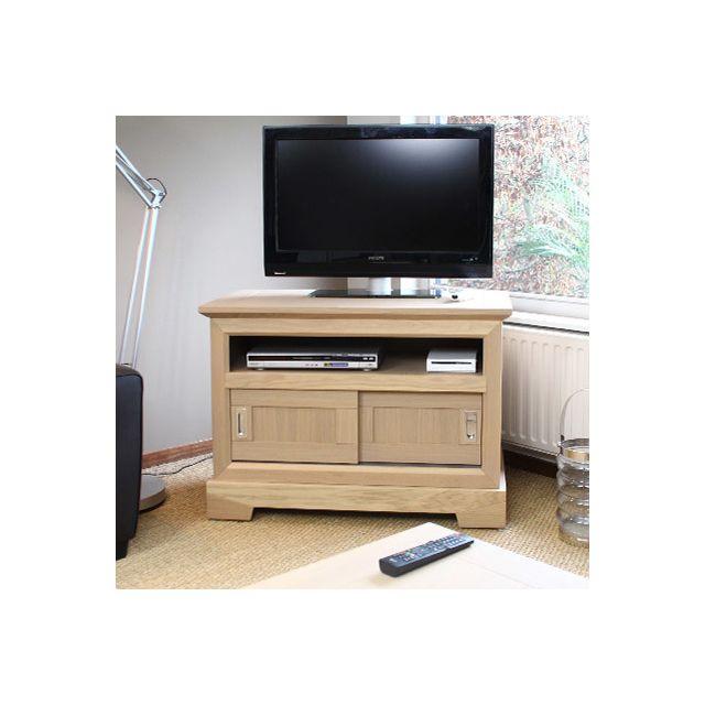 Meuble Tv haut en chêne massif couleur amande