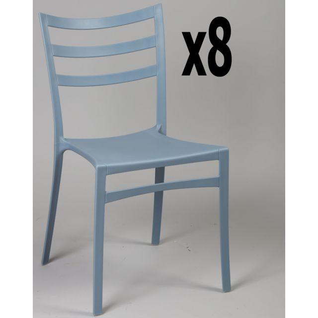 Lot de 8 chaises en polypropylène coloris gris bleu, Ht860 x Ht Ass460 x L510 x l470 mm
