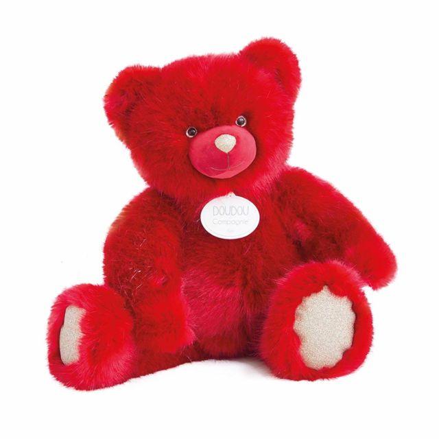 Doudou Et Compagnie Peluche ours 40 cm rubis