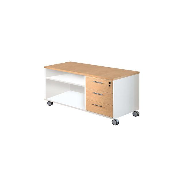 Console mobile bureau professionnel 120x60 cm coloris chêne clair et blanc