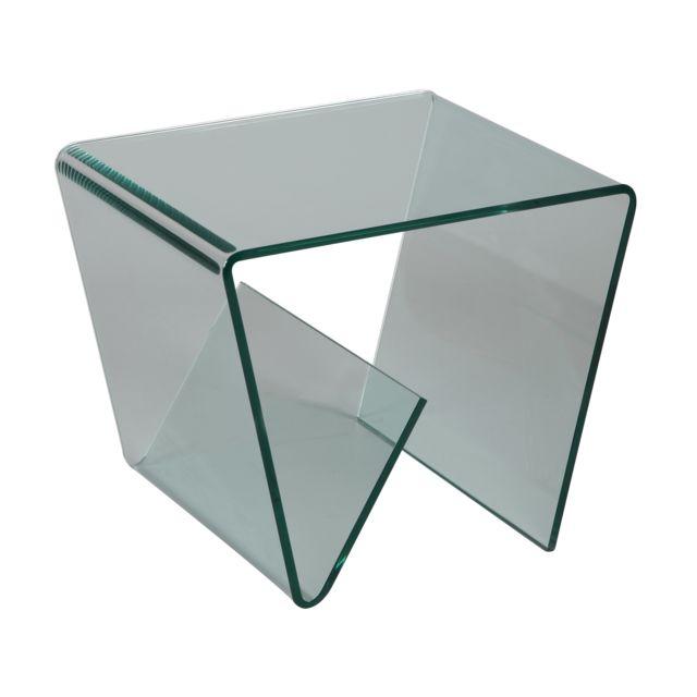 Marque Generique Petite table basse porte revues en verre trempé design