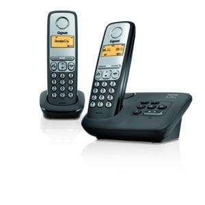 gigaset t l phone fixe sans fil avec r pondeur al230a duo noir pas cher achat vente. Black Bedroom Furniture Sets. Home Design Ideas