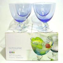 Coupes à Pied verre bullé x 4 Paradise bleu