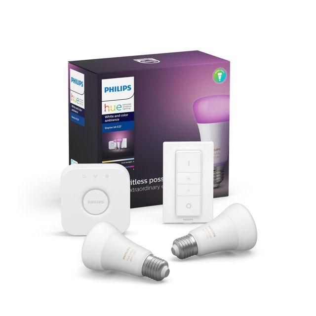 PHILIPS HUE - White and Color Ambiance - Kit de démarrage E27 + Motion Sensor Détecteur de mouvement