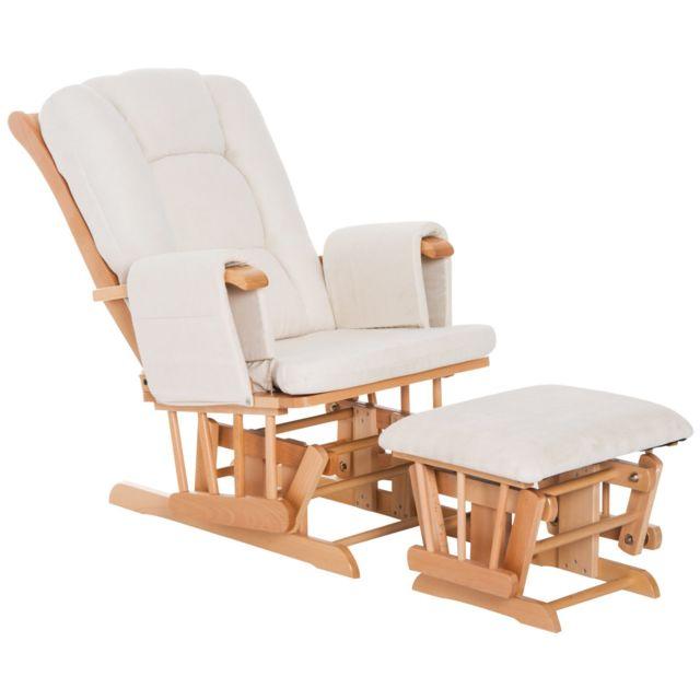 Homcom Fauteuil D Allaitement Avec Repose Pied Rocking Chair