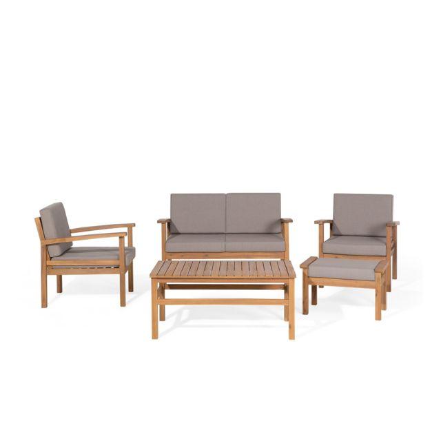 BELIANI Salon de jardin 4 places en bois acacia MANILA - marron