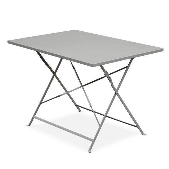 gris bistrot de pliable rectangle Table en jardin taupe thermolaqué rectangle 110x70cm Table acier Emilia SpzMUqV