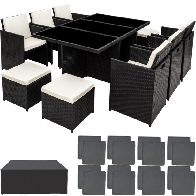 TECTAKE Salon de jardin NEW YORK 10 places avec 2 sets de housses + housse de protection - noir