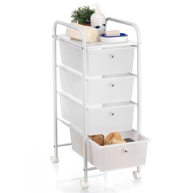 Caisson sur roulettes GINA chariot 4 tiroirs en plastique blanc transparent  et 1 tablette, meuble de rangement en métal laqué blanc