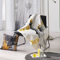 Douceur D'INTERIEUR - Plaid polaire 130x160 cm Ny Yellow