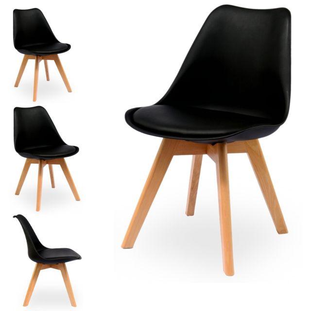 importdiffusion lot de 2 chaises design scandinave noir skagen - Lot De Chaises Design Pas Cher