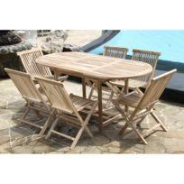 Bois Dessus Bois Dessous - Salon de jardin en teck brut pour 6/8 pers - Table 120/170x80 + 6 chaises
