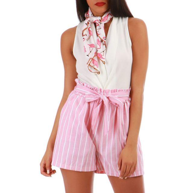 39203227974a Lamodeuse - Foulard carré rose à flamants roses Blanc - pas cher ...