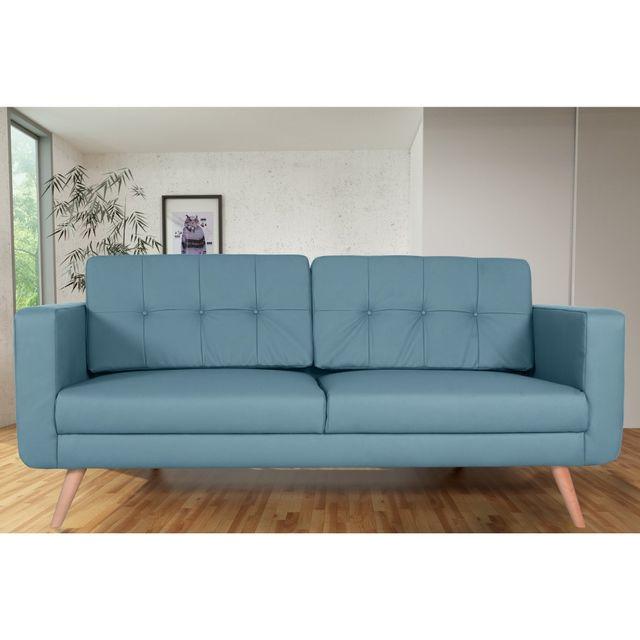 Rocambolesk Canapé fixe Hedvig 3 Pu Soft 08 Bleu sofa divan