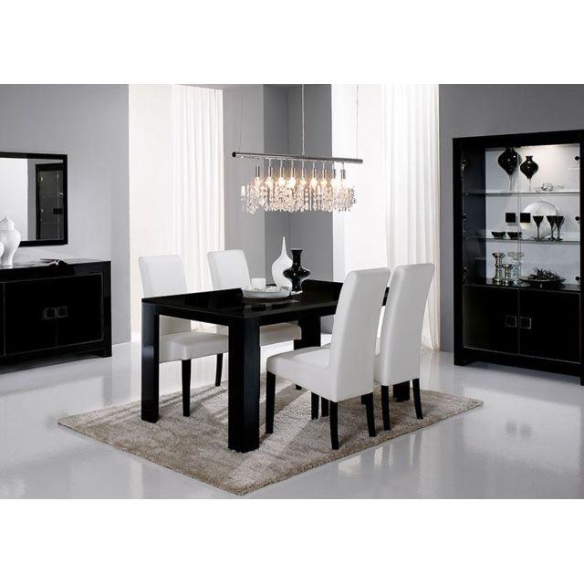 Envie De Meubles - Table repas laquée noire avec chaises ...
