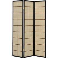 comforium paravent intrieur 3 panneaux en bambou avec structure coloris noir c candy