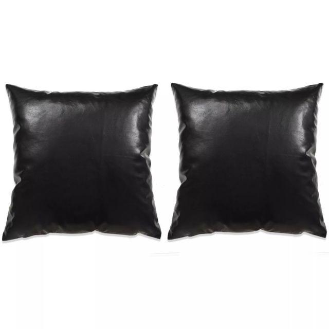 Jeu De Coussin 2 Pcs Pu 45 X 45 Cm Noir Maison Et Jardin Décorations Coussins Décoratifs Noir Noir
