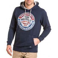 Petrol Industries - Sweat navy homme à capuche et logo vintage
