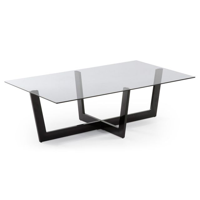 Kavehome Table basse Plam, verre noir
