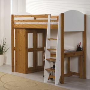 lit mezzanine armoire verona 90 x 190cm coloris antique et blanc pas cher achat vente. Black Bedroom Furniture Sets. Home Design Ideas