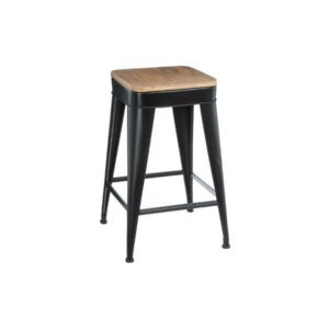 atmosphera tabouret de bar en m tal joris noir pas cher achat vente tabourets rueducommerce. Black Bedroom Furniture Sets. Home Design Ideas