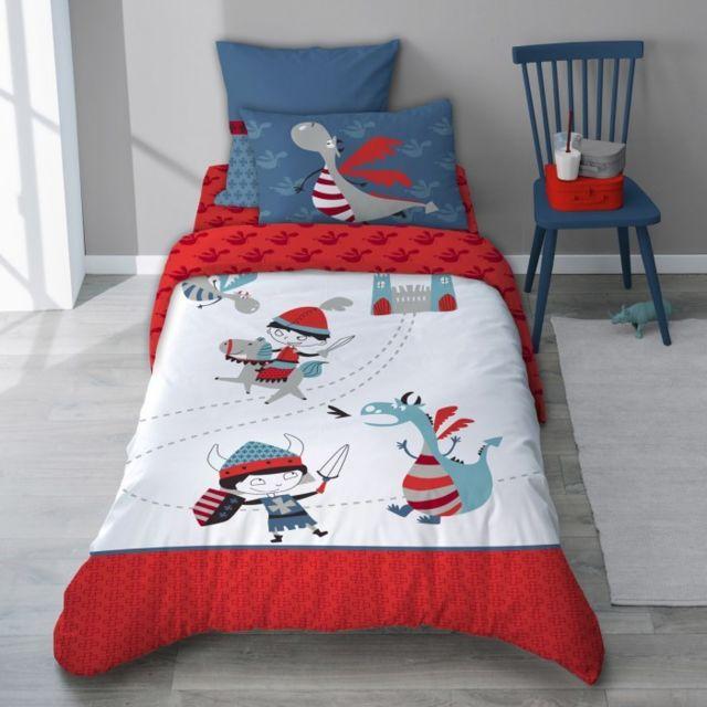 selene et gaia parure de lit chevalier et dragon rouge et bleu enfant en coton r versible. Black Bedroom Furniture Sets. Home Design Ideas