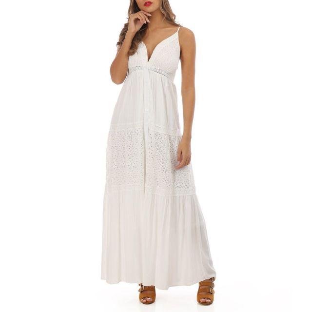 watch amazing price cheapest Robe longue à dentelle blanche style bohème