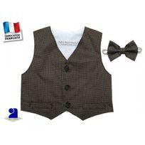 Poussin Bleu - Gilet de costume et noeud bébé, chocolat Taille - 74 cm 12 mois , Couleur - Marron