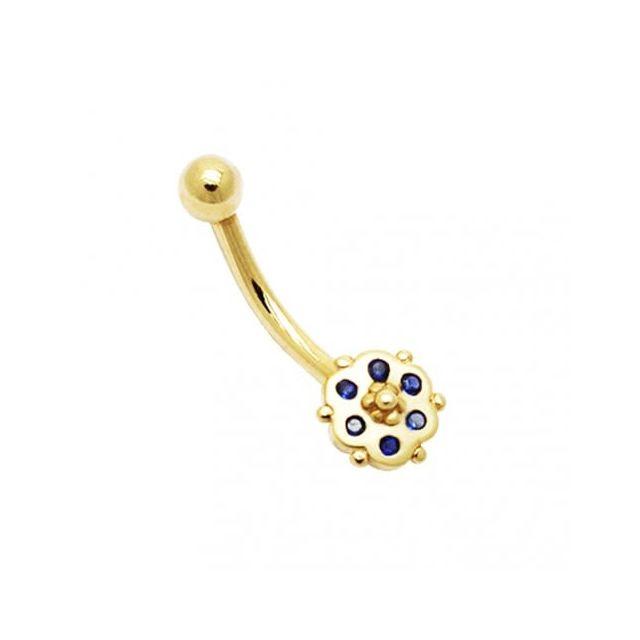 Sans Marque Bijou Pierre Précieuse Piercing De Nombril En Or Jaune Massif 14 carats Avec 6 Petites Pierre Zircon Bleu Saphir en form