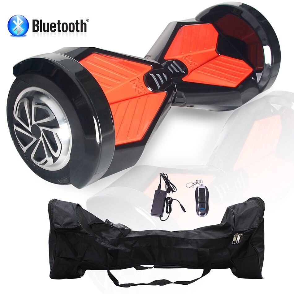COOL&FUN Hoverboard Bluetooth,Scooter électrique Auto-équilibrage,gyropode connecté 8 pouces Noir Rouge