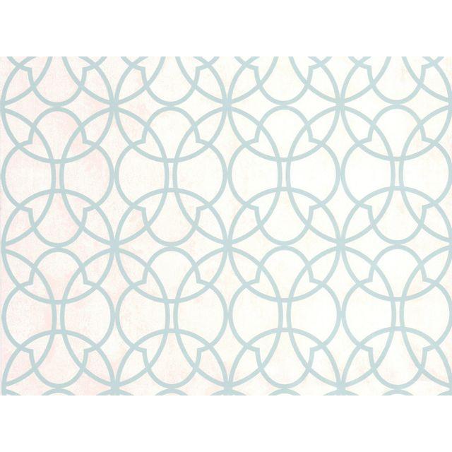 Graham And Brown - Papier peint vinyle grainé intissé motif rosace vert mint/blanc 10.05x0.52m Contempo 0cm x 0cm