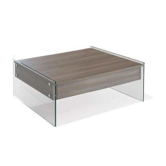 Inside 75 Table basse relevable Bella 80x80cm coloris noyer piétement en verre