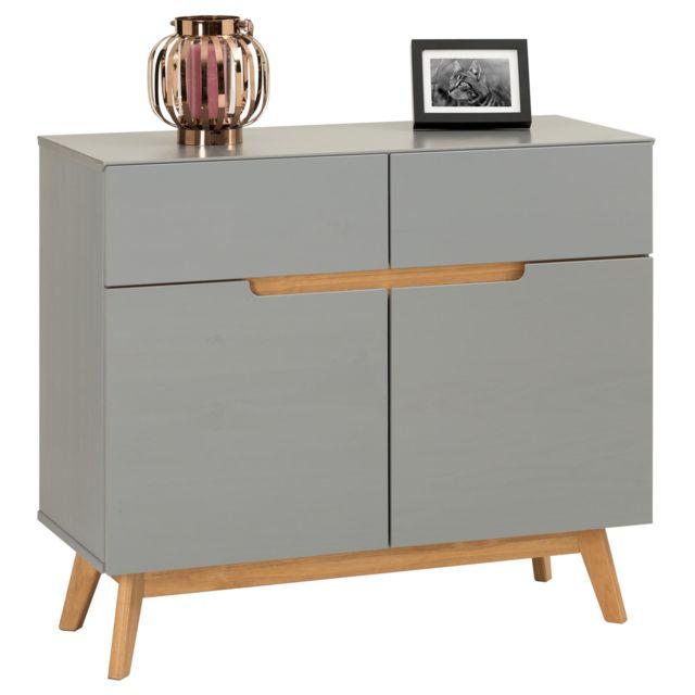 IDIMEX Buffet TIBOR style scandinave design vintage nordique commode bahut vaisselier avec 2 tiroirs et 2 portes, en pin massif