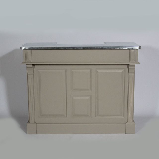 made in meubles bar bois massif 120cm plateau zinc n154z taupe
