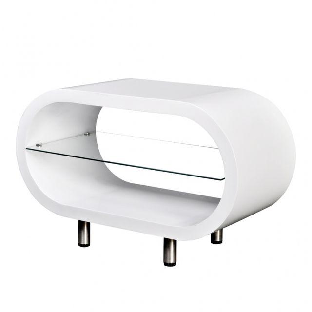 Casasmart Table basse blanche avec espace de rangement en verre