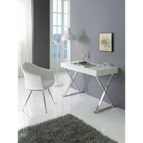 Ma Maison Mes Tendances - Bureau 1 tiroir en Mdf laqué blanc et pieds en acier Jeffrey - L 120 x l 55 x H 76