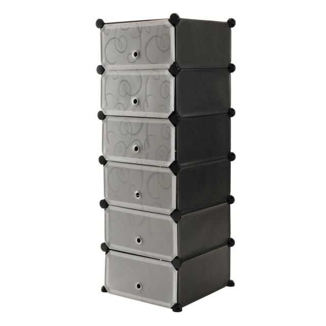 Primematik Armoire penderie cabinet etagère de 6 cubes de 17x35cm en plastique noir avec portes imprimé
