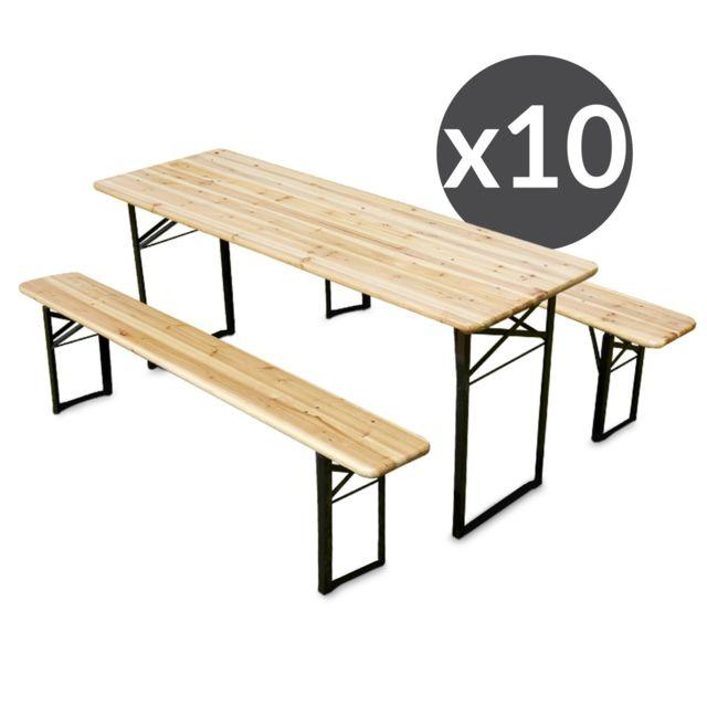 Mobeventpro Ensemble Brasserie Table et bancs bois 180 cm - Lot de 10